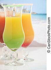 cocktail, spiaggia, Tre, colorito
