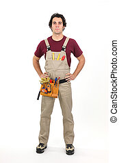 Handyman stood with hands on hips