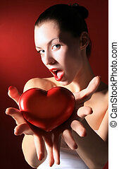heart - black woman is sharing red heart