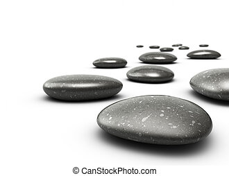 many pebbles on a white floor, stones are black with grey...
