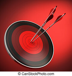 red target with three arrows hitting the bulls eye, red...