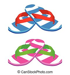 flip flop vector illustration - flip flop male and female...