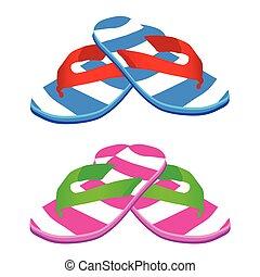 flip flop vector illustration - flip flop male and female...