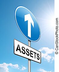 Assets concept. - Illustration depicting a roadsign with a...