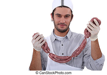 String of sausages butcher