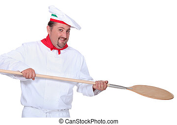 pizza chef holding a pizza loading peal