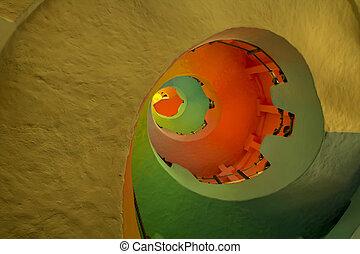 Faro Cabo San Lucas - Interior de un faro utilizado como...