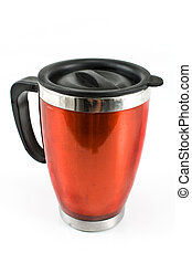 Red thermos for coffee isolated on white