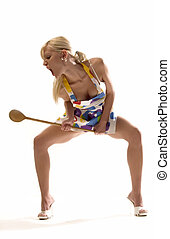 scream with ladle - housewife with ladle