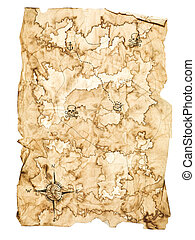 Treasure Map - Worn Treasure Map on White Background