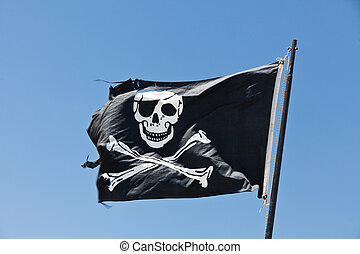 Pirate Flag towards blue sky