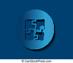 puzzle web blue icon label design