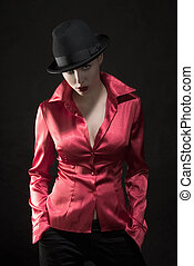 with hat - fashion female in red shirt with hat