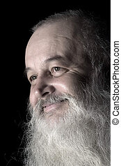 smile silver barb - portrait of smile senior with silver...