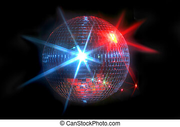 Mirror disco ball with laser lights reflecting off in blue...