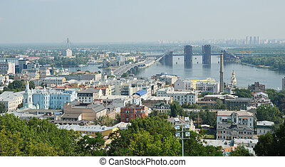 Right riverbank of Kiev - Kyiv is photographed in summer In...