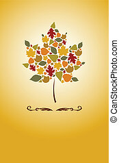 Autumn leaves - A vector illustration of a maple tree with...