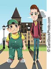Two boys - A vector illustration of a short fat boy and a...