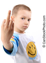naughty portrait - a boy is showing a middle finger
