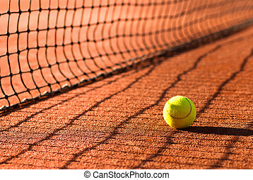 tennis court and tennis ball