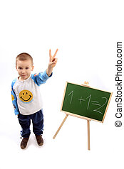 maths - a boy is pointing two fingers because he knows the...