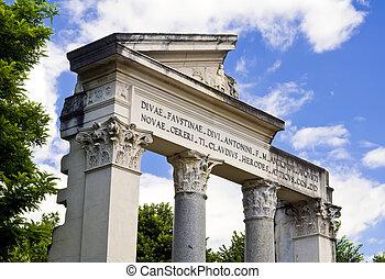 Villa Borghese, Rome - Ancient facade at Villa Borgheses,...