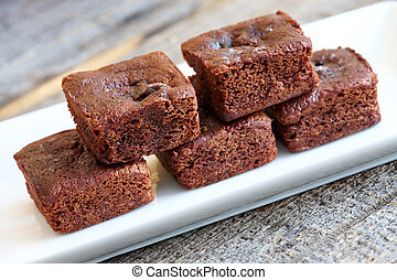 Brownies - Little soft chocolate brownies with white...