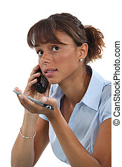 Woman trying to explain something over the phone