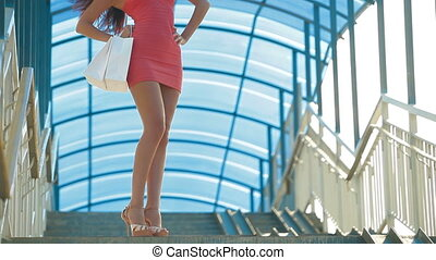 Young Woman with Shopping Bags - Beautiful Young Woman with...