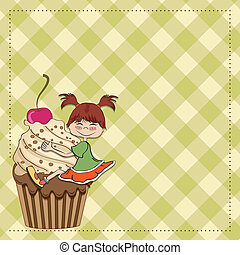 birthday card with funny girl