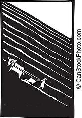 Plowed Field - Ox drawn plow tilling a field in simple...