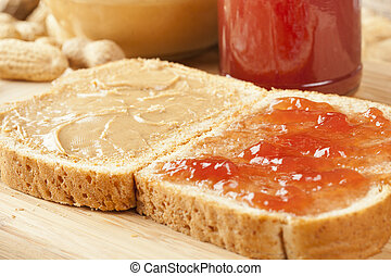 Homemade Peanut Butter and Jelly Sandwich - Fresh Homemade...