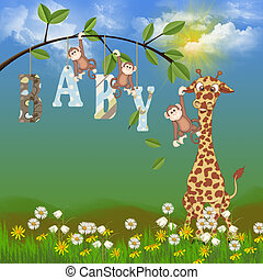 baby jungle animals - Jungle animals with baby sign.