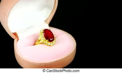 Rotation of ruby diamond ring.
