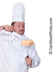 Chef with a takeaway box