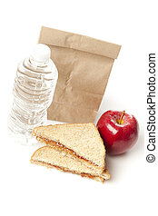 Peanut Butter and Jelly Sack Lunch with water and apple