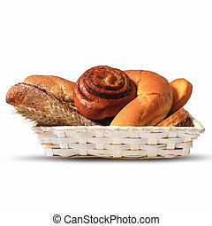 assortment of baked bread in a basket
