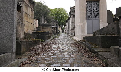 Parisian cemetery. - Cobblestone avenue between the...