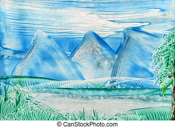 watercolors landscape mountains and lake