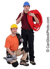predios, Trabalhadores, seu, materiais, equipe, construção, ferramentas