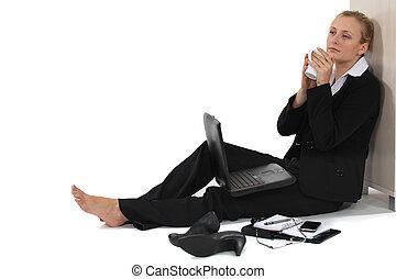 Woman taking a much needed break