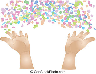 confetti - human hand throwing colored confetti isolated on...