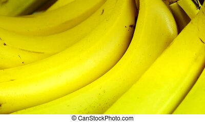 Rotation of delicious banana fruit plate.