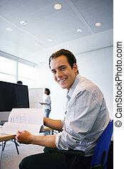 Happy office worker