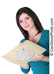 Woman with envelope and mail symbol