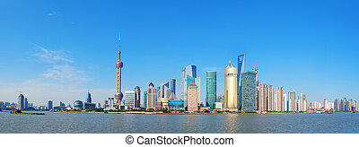 Shanghai skyline panorama with skyscrapers and blue clear...