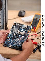 Closeup on an electrical circuit