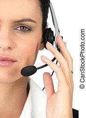 secretária, Desgastar, headset