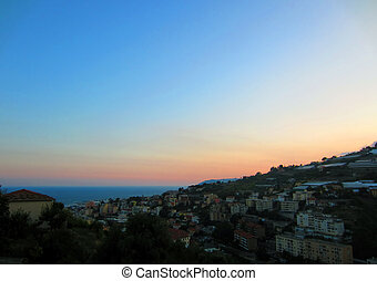 Sunset in San Remo on Italian coast...