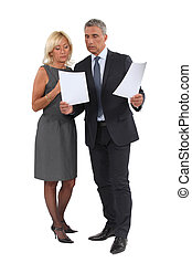 Business professionals comparing documents